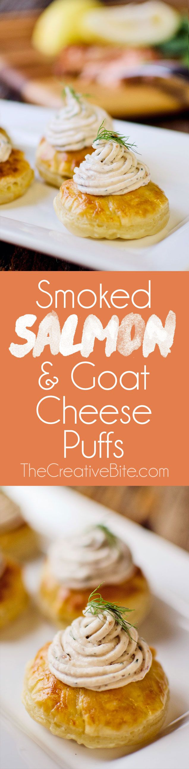 Smoked Salmon and Goat Cheese Puffs are a fantastic little appetizers with a light and flakey piece of puff pastry topped with a creamy smoked salmon, goat cheese and lemon spread. http://www.thecreativebite.com/smoked-salmon-goat-cheese-puffs/?utm_campaign=coschedule&utm_source=pinterest&utm_medium=Danielle%20%7C%20The%20Creative%20Bite&utm_content=Smoked%20Salmon%20and%20Goat%20Cheese%20Puffs