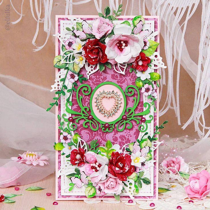Скрапбукинг открытки с цветами фото, поздравлением