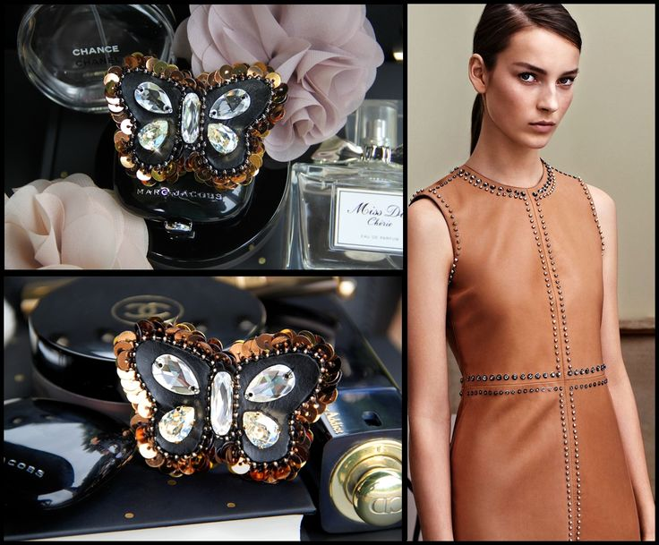 Swarovski crystals bronze sequin black leather butterfly brooch