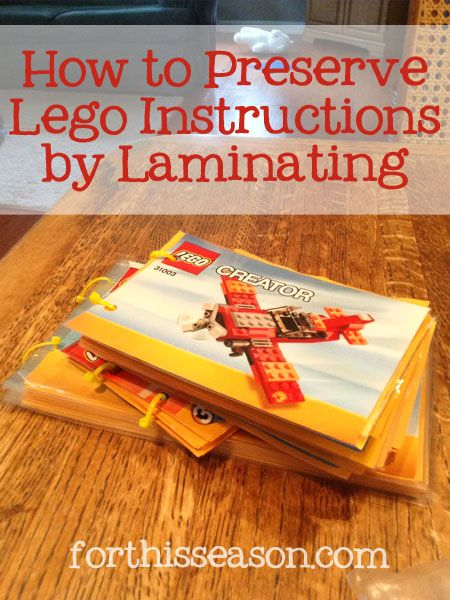How to preserve Lego instructions by laminating - DIY instructions from forthisseason.com