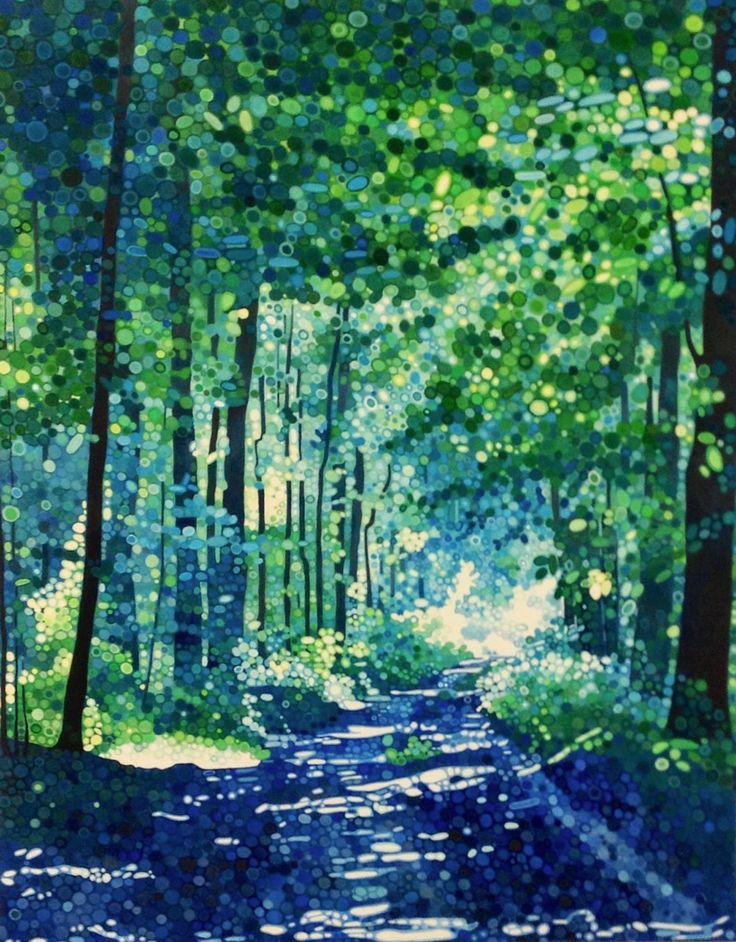 Ewa Adams Blue Haze Acrylic on Canvas 100 x 80 cm  #Art #Paintings #Landscape