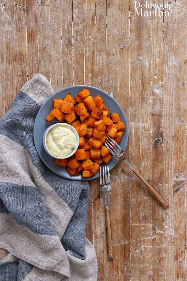 Estas bravas de calabaza, además de ser una opción saludable y sabrosa, van acompañadas de una mayonesa vegana o veganesa, picante y deliciosa