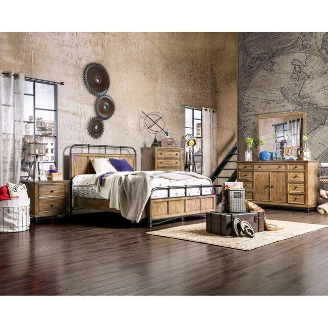 Furniture of America Donno Industrial Two-tone Dark Oak Platform Bed