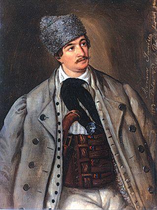 portrait of Avram Iancu (revolutionary) - by Barbu Iscovescu (1816-1854, Jewish-Romanian revolutionary)