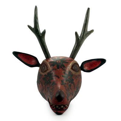 Handcrafted Wood Animal Mask Wall Sculpture - Orange Maya Deer | NOVICA