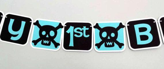 Skull Banner/ Skull Birthday Banner/ 1st Birthday/ by Klutterella