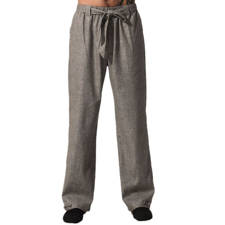 Top Quality Gray Chinese Men's Kung Fu Trousers Cotton Linen Pants Clothing Size S M L XL XXL XXXL MN001
