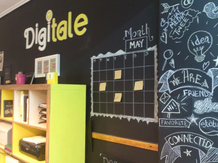 Social Media & Digital Marketing Office Design | Chalkboard painting ideas