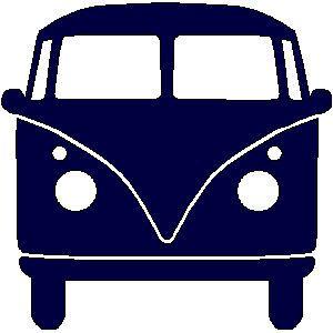 applicatie en zo: veloursmotief VW bus blauw of roze