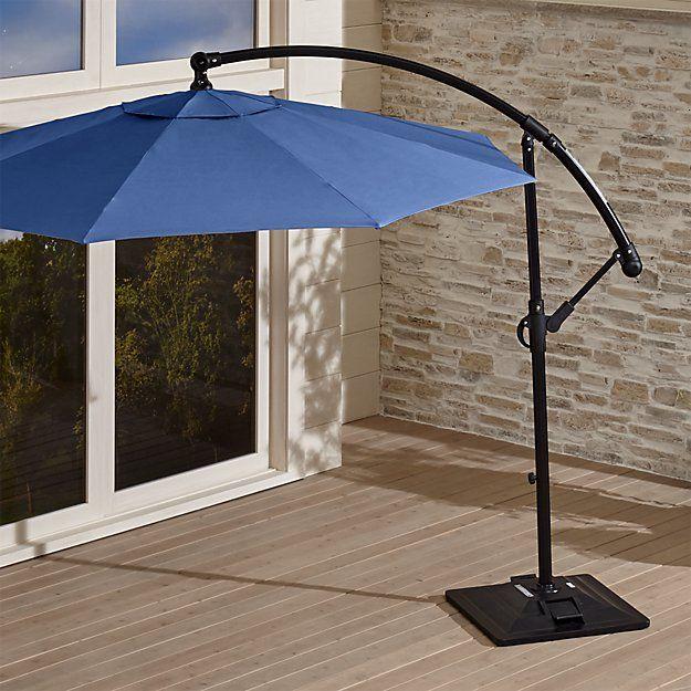 10u0027 Round Sunbrella ® Mediterranean Blue Cantilever Patio Umbrella With Base