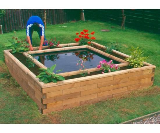 Raised pond surrounded by a raised garden bed the plants for Koi pond shade ideas