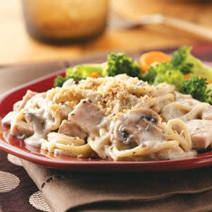 Turkey Mushroom Casserole Recipe from Taste of Home -- Shared by Peggy Kroupa, Leawood, Kansas  #turkey #leftovers