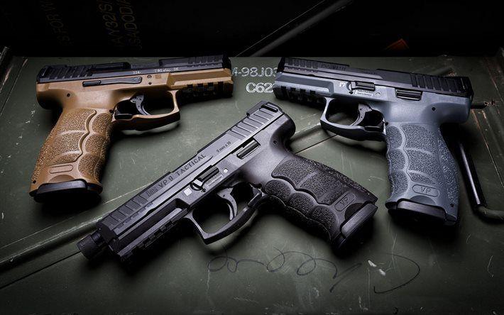 Scarica sfondi Heckler Koch VP9, pistola 9 mm, armi moderne, HK VP9, Tattico