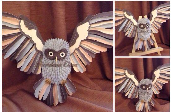 Филин-птица мудрости. Бумагопластика.