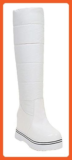 CHFSO Women's Stylish Solid Waterproof Fully Lined Pull On Knee High Heel Inside Platform Warm Winter Snow Boots White 4 B(M) US - Boots for women (*Amazon Partner-Link)