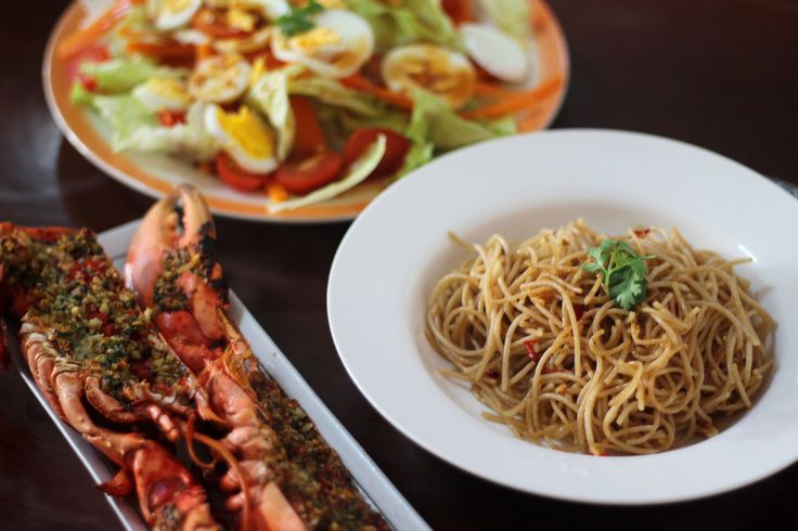 Aglio Olio pasta - Grilled Lobster with Garlic-Parsley Butter - Mixed salad with honey lemon dressing