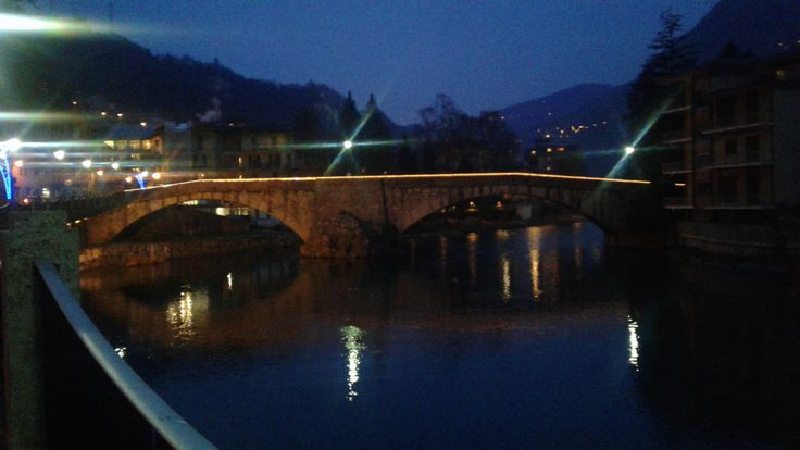 Stone Bridge night view in San Pellegrino Terme