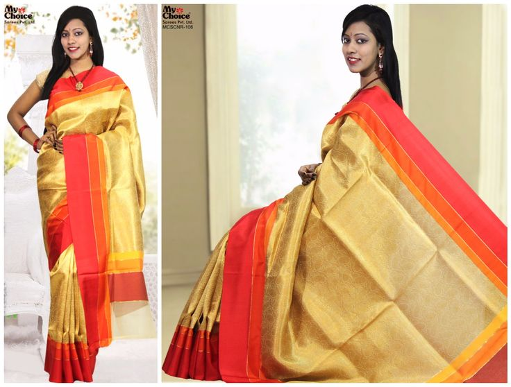 Chanderi Plain Golden Color Saree