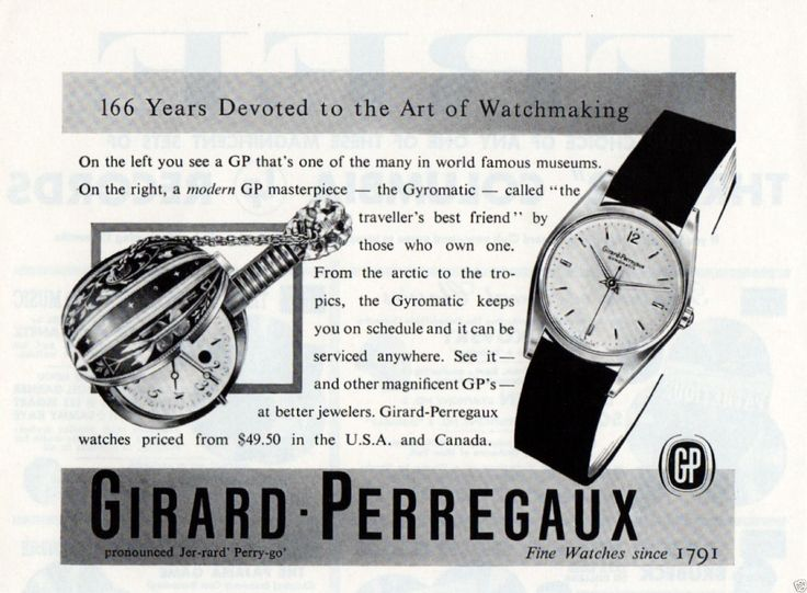 "1956 Vintage Print Ad Girard Perregaux Watches Museum Piece vs ""Gyromatic"". #girardperregaux #gyromatic #watch #watches #vintage #ads #stawc"