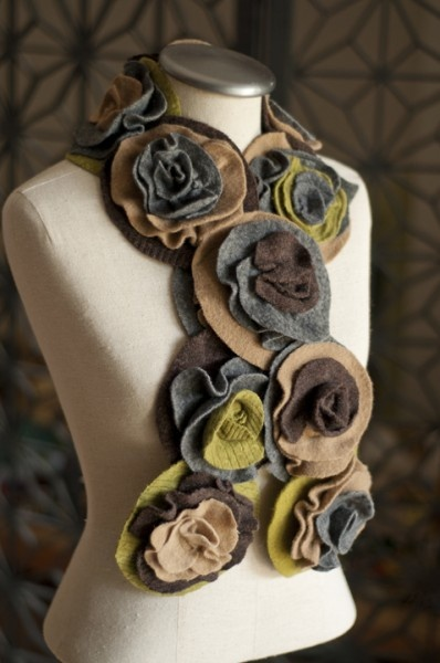 upcycled recycled wool rolled rose scarf by That Funky Boutique