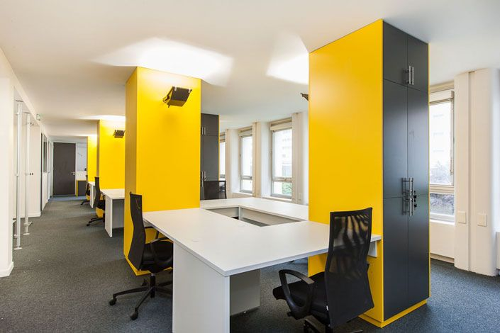 Les 52 meilleures images propos de amenagement d 39 espace for Meuble bureau jaune