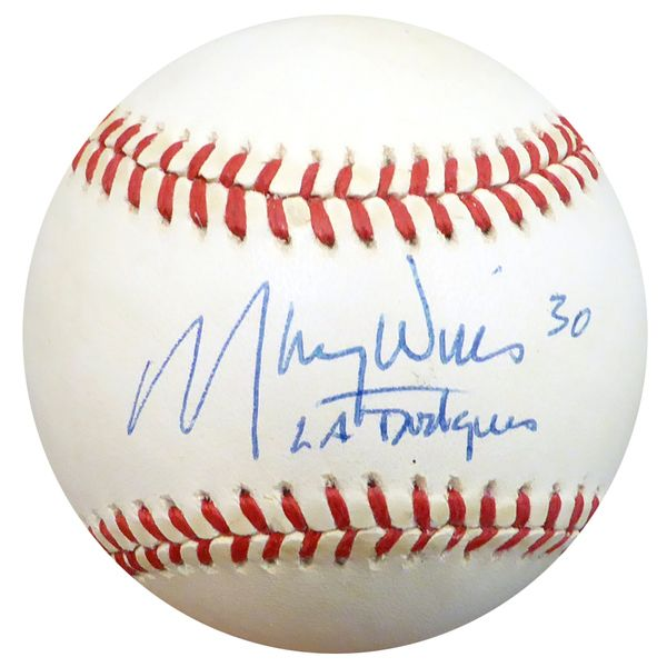 Maury Wills Autographed Official NL Baseball Los Angeles Dodgers Beckett BAS #C71157