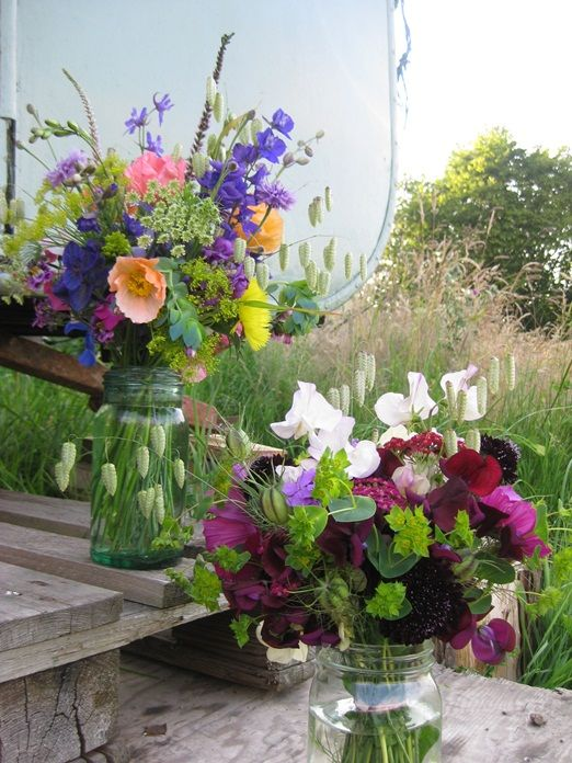 jam jars of homegrown flowers from http://www.bareblooms.co.uk/ and the Darling buds of Hay