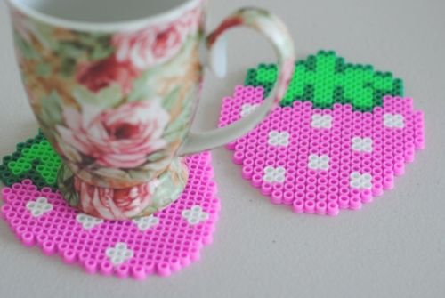 perler strawberry coaster