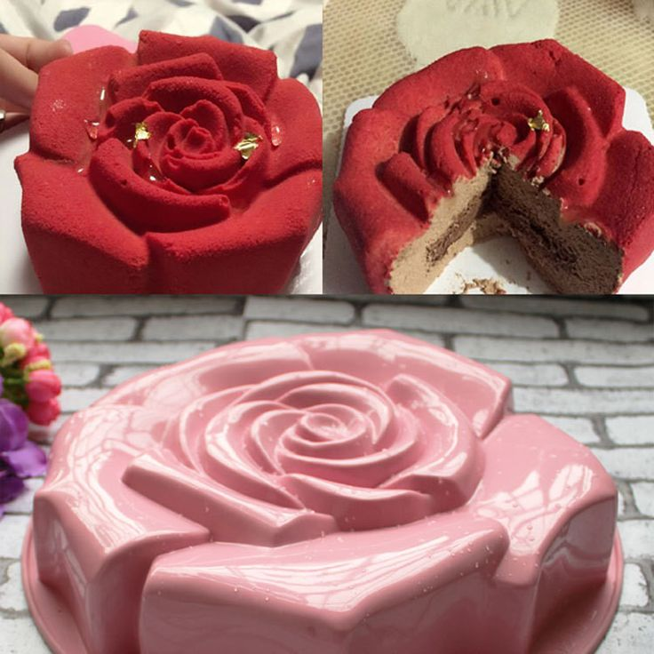 High Quality Rose Shape Silicone Cake Mold - Chocolate Pudding Mold