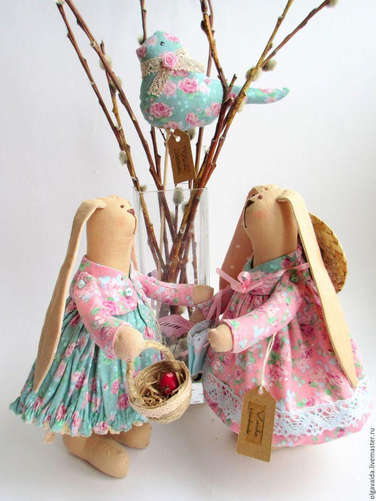 Купить Пасхальный зайчик шебби подарок на Пасху - бирюзовый, Пасха, пасхальный сувенир, подарок на Пасху