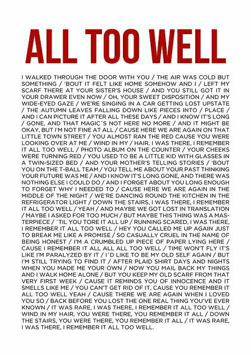 Taylor Swift song lyrics~ All too well   Song Lyrics I ...