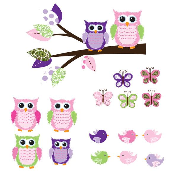 Vinyl wall branch decal nursery wall stickers colorful owl wall branch decal 5000