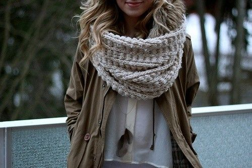 Generous scarf in a neutral oatmeal color. Photo credit: Stylecaster.com via WhippedStyle.com