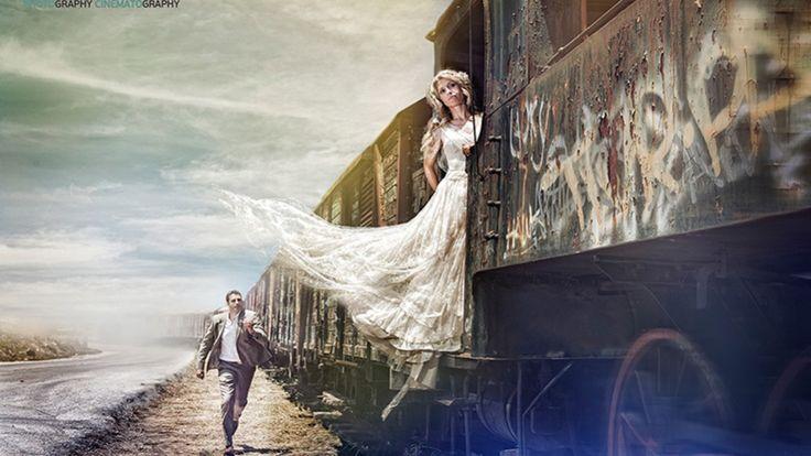 Φωτογράφηση νύφης σε τρένο