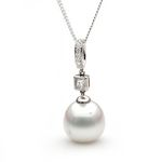 18ct white gold Broome South Sea 12m diamond pendant.