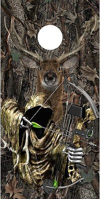 Grim reaper bow hunting deer oak camouflage cornhole game decal wraps