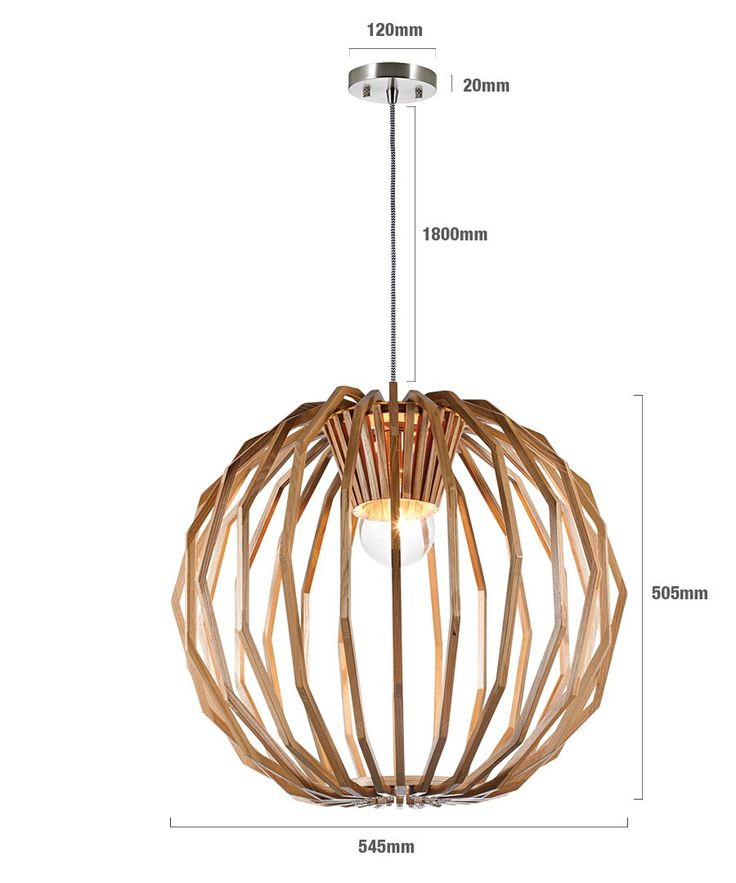 Beacon Lighting  Kitchen pendant x 3 Stockholm 1 Light Large Round Pendant in Natural Wood