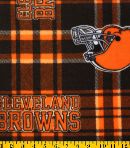 NFL Fleece Fabric-Cleveland Browns Plaid