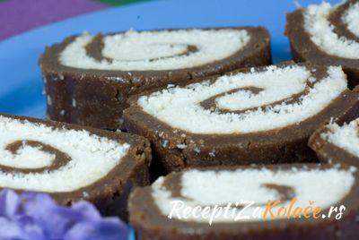 Kokos rolat http://www.receptizakolace.rs/kolaci-recepti/sitni-kolaci-recepti/154-kokos-rolat