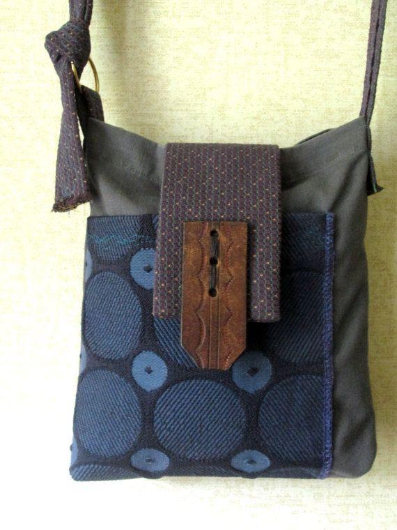 crossbody messenger bag - upcycled - $38