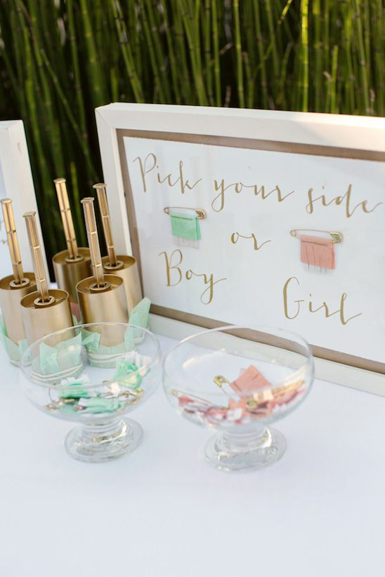 Guests pinned their guesses before the big reveal! Fun Gender Reveal Party in Peach, Mint, and Gold