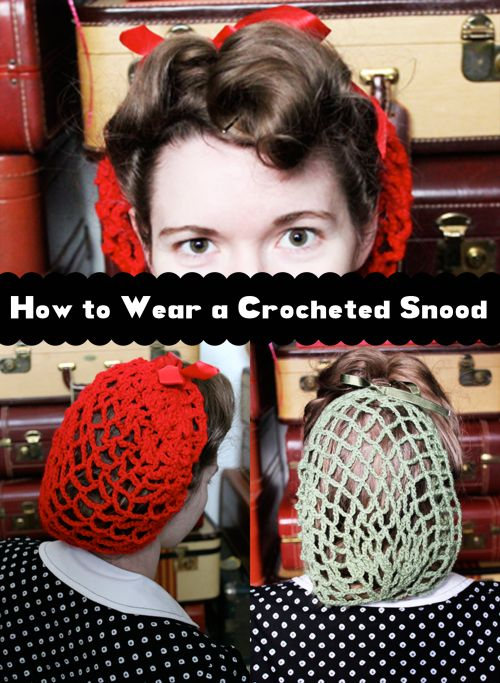 "How to Wear a Crocheted Snood --- Noir Girl (I know how to make them - taught by somebody who sells them all the time - but never did figure out the ""wearing"" part)"
