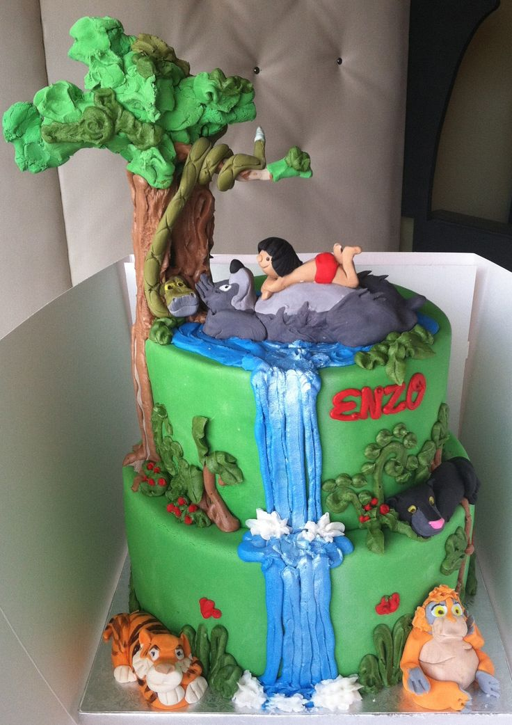 Jungle book multi-tier birthday cake Jungle Book Cakes ...