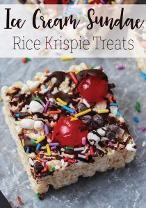 These ice cream sundae rice krispie treats are amazing! Both adults and kids will love this rice krispie treat variation!