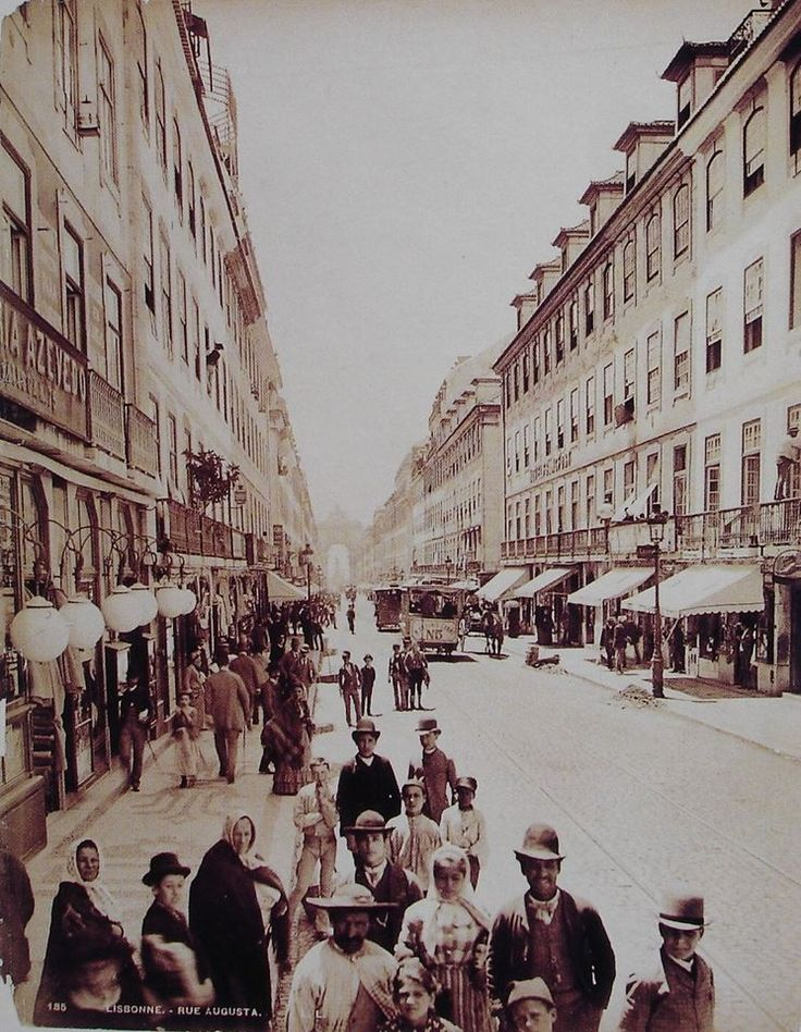 Lisbon Rua (street) Augusta in 1890 by Louis Levy