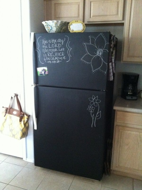 Fridge revamp ---------------------- I don't know about you but I don't like white refrigerators, especially if they're old. So if you too wish to change the look of your fridge, consider using chalkboard paint. Cover the exterior and then you'll be able to use it as a writing surface