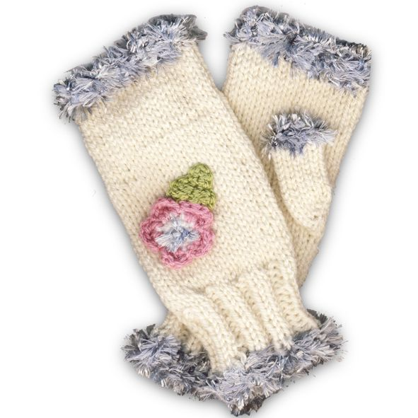 Hand Knitted Fingerless Mittens - Pink Flower, Paradis Terrestre - Quality Greeting Cards, Gifts, Hand Knits, Luxury Christmas Decorations, Luxury British Made Accessories and Homeware