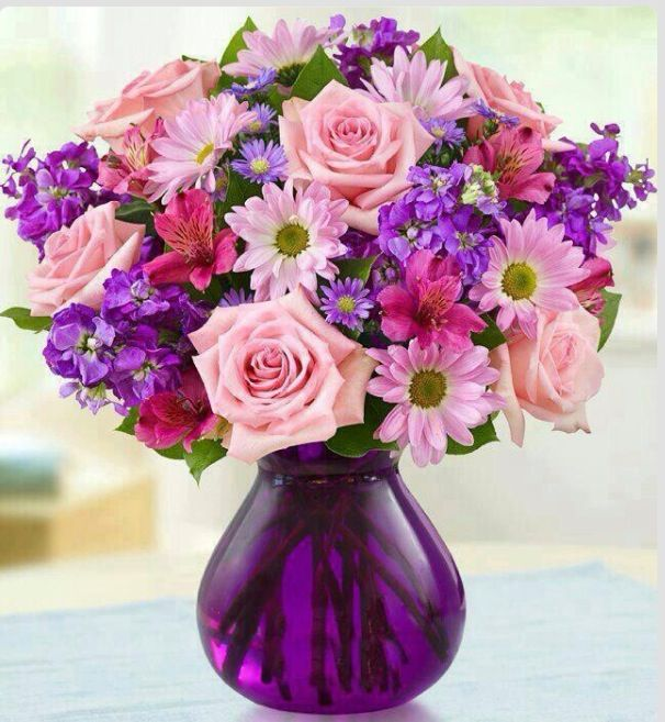 892 best flower arrangement images on pinterest floral send her this truly original bouquet of lovely roses daisy poms stock alstroemeria and monte casino in shades of pink and purple mightylinksfo