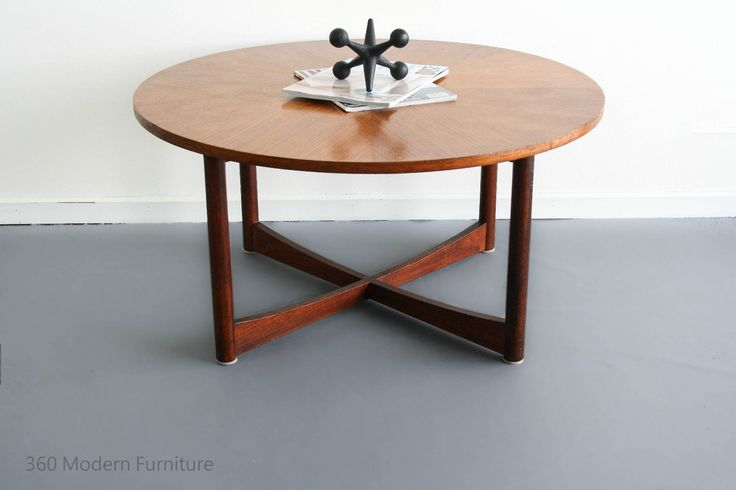 mid century parker coffee table teak round sundial danish retro