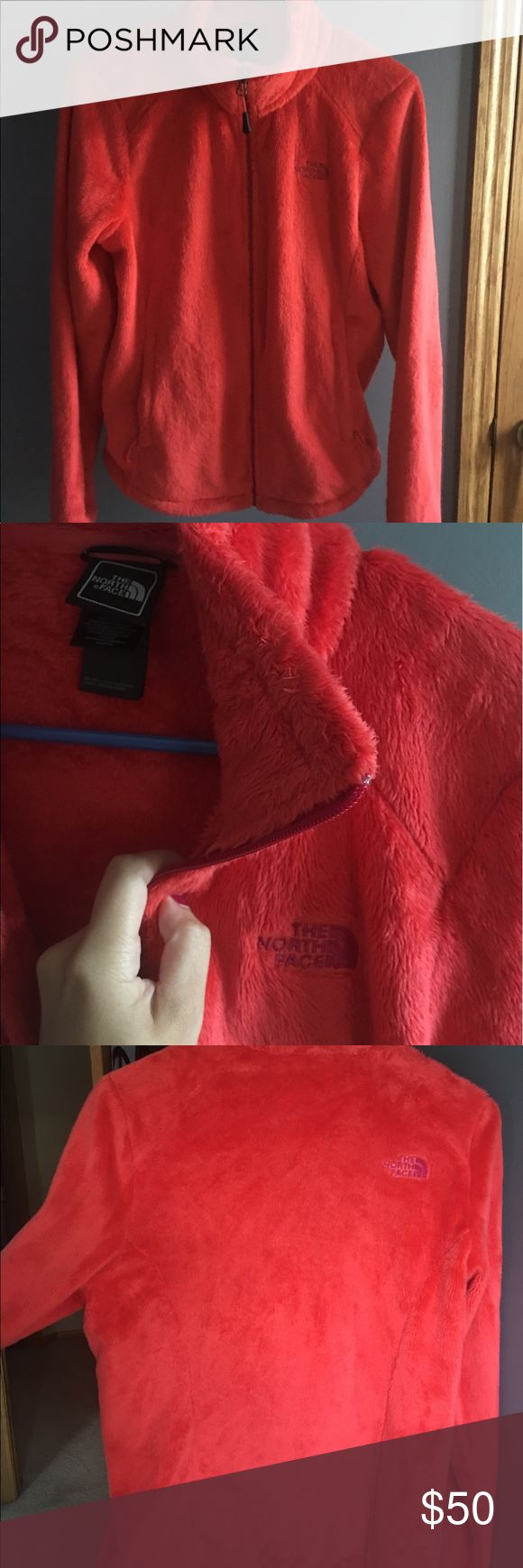 Red North Face fleece zip up Never worn! Super great condition The North Face Jackets & Coats Puffers